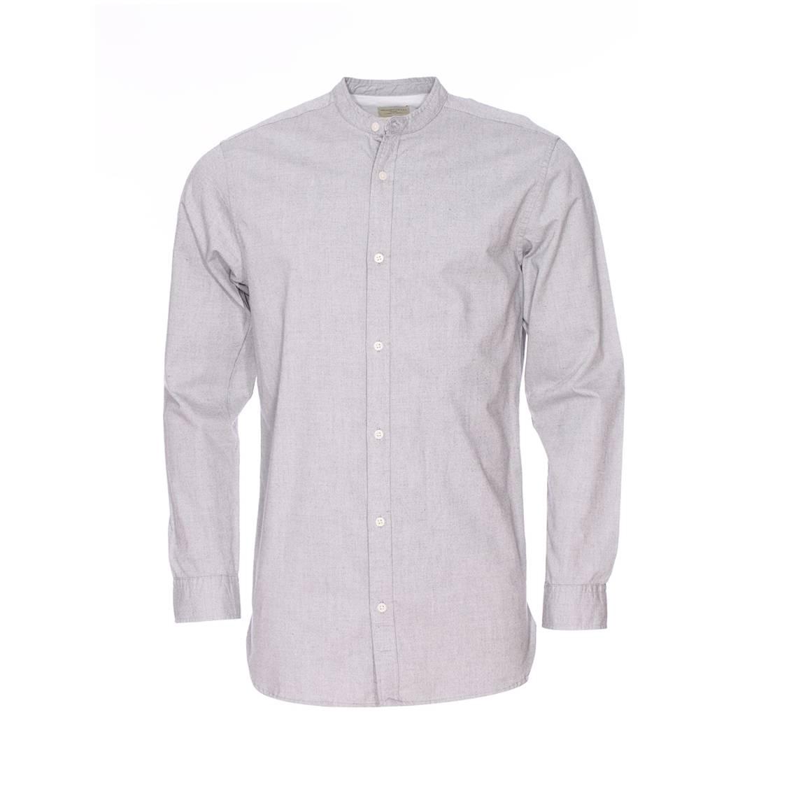 Chemise droite  héritage col mao en coton gris chiné
