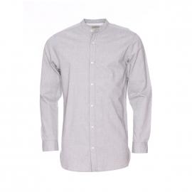 Chemise droite Selected Héritage col mao en coton gris chiné
