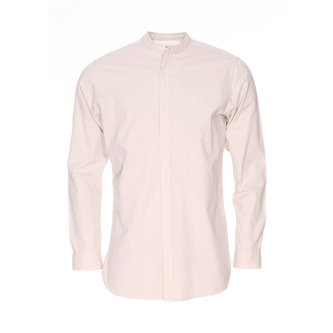 Chemise droite  héritage col mao en coton beige