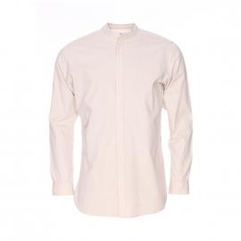 Chemise droite Selected Héritage col mao en coton beige