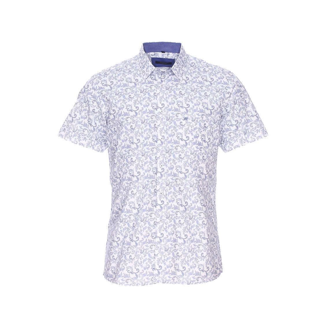 Chemise manches courtes  blanche à motifs floraux baroques bleus