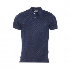 Polo Selected en coton bleu marine à motifs croix blanches