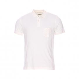 Polo Selected en coton crème, poche poitrine à motifs croix bleu marine