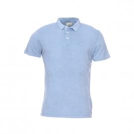 Polo Selected en coton flammé bleu acier