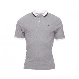 Polo Héritage Selected gris chiné à col contrastant blanc