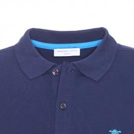Polo Selected en maille piquée bleu marine