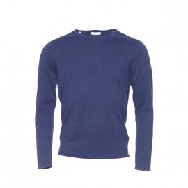 Pull léger col rond à poche Selected en coton bleu marine