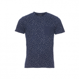 Tee-shirt col rond Selected bleu marine à motifs papyrus