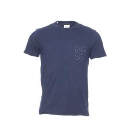 Tee-shirt col rond Selected bleu marine, poche poitrine à motifs