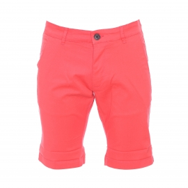 Short chino Selected en coton stretch corail