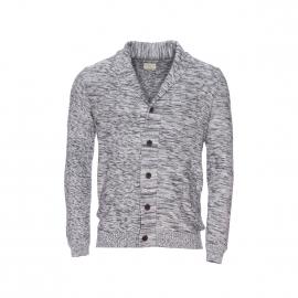 Cardigan Selected en coton chiné bleu marine et gris