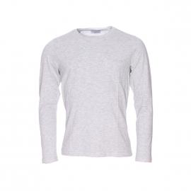 Tee shirt manches longues Selected en coton gris chiné à poche