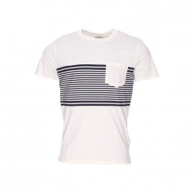 Tee shirt Selected en coton flammé blanc cassé à rayures bleu marine