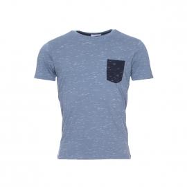 Tee-shirt Selected en coton bleu acier moucheté