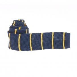 Cravate tressée Serge Blanco bleu indigo à rayures jaunes
