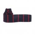 Cravate tressée Serge Blanco bleu marine à rayures rouges