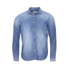 Chemise droite Serge Blanco en coton bleu jean