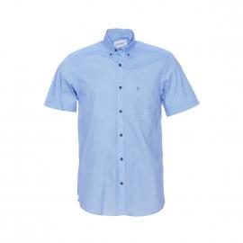 Chemise manches courtes Serge Blanco bleu clair à petits losanges blancs