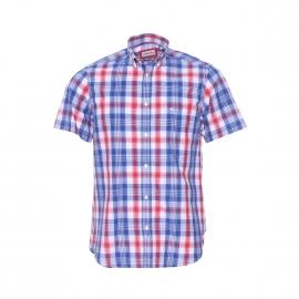 Chemise manches courtes Serge Blanco en coton à carreaux blancs, bleus et rouges