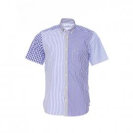 Chemise manches courtes Serge Blanco en coton à carreaux et rayures bleus et blancs