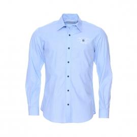 Chemise Serge Blanco en fil à fil bleu ciel, brodé 15 en blanc au dos