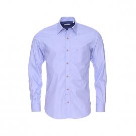 Chemise droite Serge Blanco en fil à fil bleu à coudières bleu jean