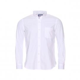Chemise Serge Blanco en coton blanc brodé au dos et à coudières en jean