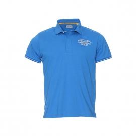 Polo Serge Blanco en jersey de coton bleu cyan brodé dans le dos