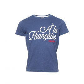 Tee-shirt Serge Blanco en coton flammé bleu pétrole