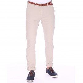 Pantalon Chino Scotch & Soda beige à ceinture cognac