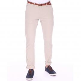 Pantalon Chino Scotch & Soda beige à ceinture cognac