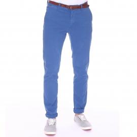 Pantalon Chino Scotch & Soda bleu roi à ceinture cognac