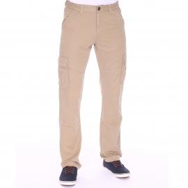 Pantalon cargo TBS Fupcot beige sable à ceinture élastiquée