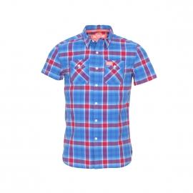 Chemise manches courtes Slimline Washbasket Superdry à carreaux bleus et rouges