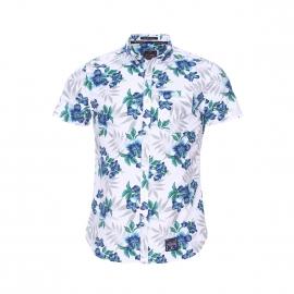 Chemise manches courtes Miami Oxford Superdry en coton blanc à hibiscus bleus et verts