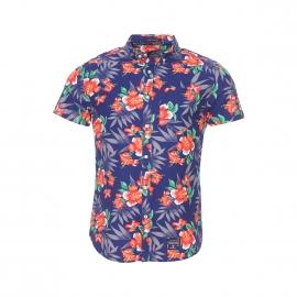 Chemise manches courtes Miami Oxford Superdry en coton bleu marine à hibiscus orange, blancs et verts