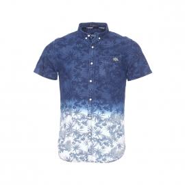 Chemise manches courtes Superdry en denim dégradé à motifs feuilles de palmier