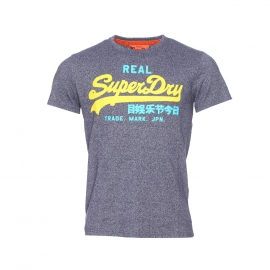 Tee-shirt col rond Superdry Vintage imprimé du logo en bleu jean chiné