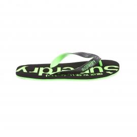 Tongs Flip Flop Superdry noires et vert fluo