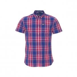 Chemise manches courtes Superdry à carreaux rouges et bleus