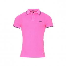 Polo Superdry en maille piquée rose fluo