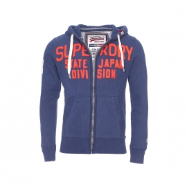 Sweat zippé à capuche Superdry Label True bleu marine