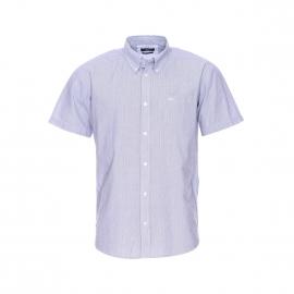 Chemise manches courtes Chewor TBS à rayures bleues, blanches et noires