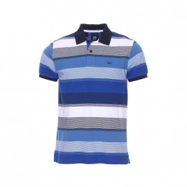 Polo Polion TBS à rayures blanches et bleues