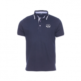 Polo Polito TBS bleu marine, col à fines rayures grises et blanches