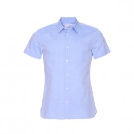 Chemise manches courtes Clobby Teddy Smith en coton bleu ciel à pois bleus