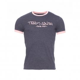 Tee-shirt col rond Ticlass Teddy Smith anthracite chiné bordé de rose pâle