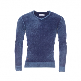 Pull col V Plucy Teddy Smith bleu indigo delavé