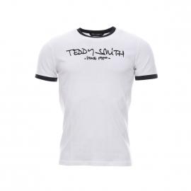 Tee-shirt Ticlass Teddy Smith blanc et bleu navy