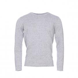 Pull léger col rond Selected en coton gris chiné à poche